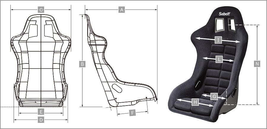 Sabelt レーシングシート GT-3 サイズ表