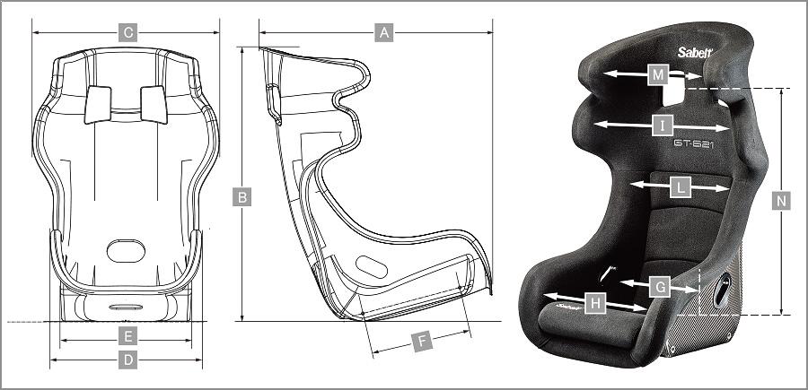 Sabelt レーシングシート GT621 サイズ表