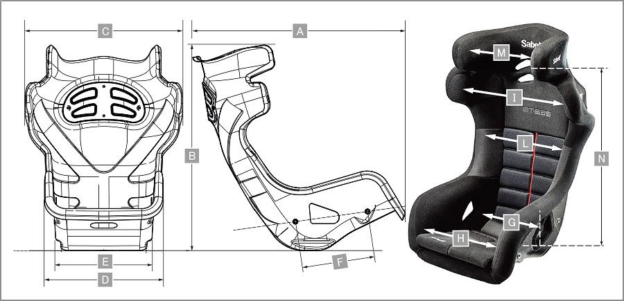 Sabelt レーシングシート GT635 サイズ表