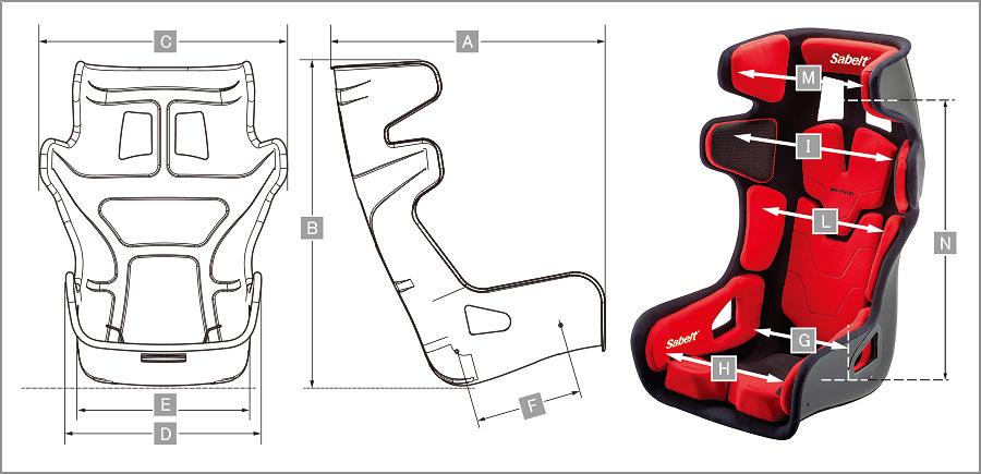 Sabelt レーシングシート GT-PAD サイズ表