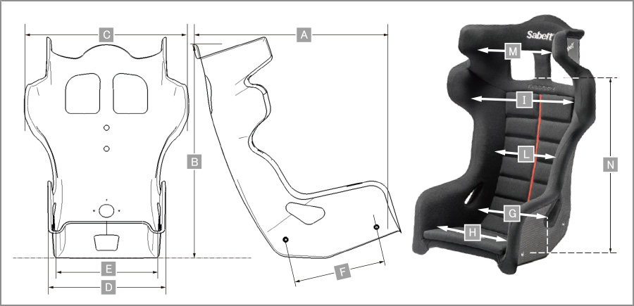 Sabelt レーシングシート GT-PRO M サイズ表