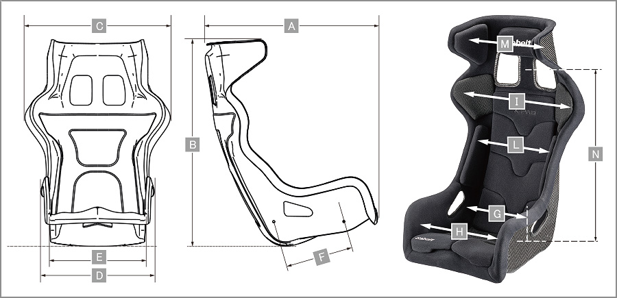 Sabelt レーシングシート X-PAD CARBON サイズ表