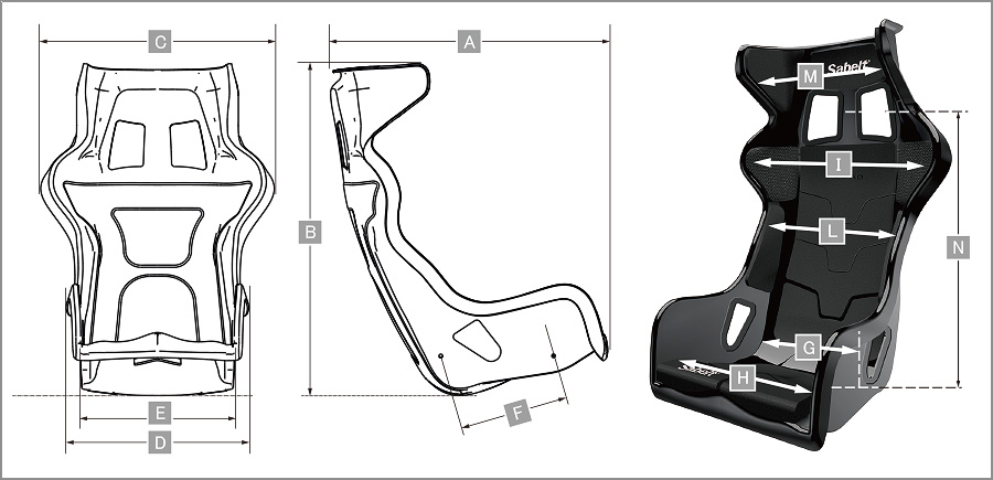 Sabelt レーシングシート X-PAD サイズ表